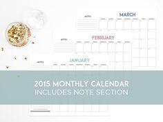 2015 monthly calendar #printables