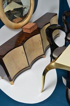 The new Vespertillio Sideboard by Scala Luxury. Ebony, goatskin and bronze.
