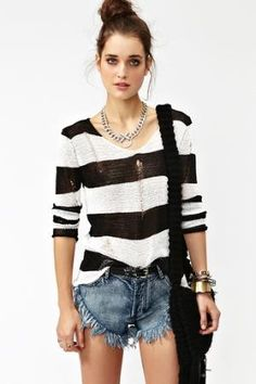 Shredded Stripes Knit  in  What\'s New at Nasty Gal