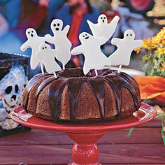 Pumpkin Cake With Little Ghosts - Halloween Desserts and Treats Recipes - Southern Living