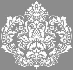 Matte vinyl will give your damask art a hand-painted look in no time instead of hours. Monogram Stencil, Wallpaper Stencil, Damask Stencil, Wall Stencil Patterns, Stencil Designs, Rococo, Create 365 Planner, Damask Wall, Baroque Pattern