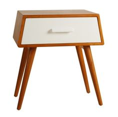 Mid Century Nightstand w Storage Drawer Wood White Modern Side Table Bedside NEW #MidCenturyHomes