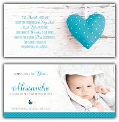 Alessandro: Geburtskarte 210x100 mm // Karte auch in anderer Farbe oder mit einem unserer anderen Herzen erhältlich // (©Foto: http://www.corinnechollet.ch)
