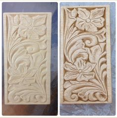 A leather design carved in a little piece of wood