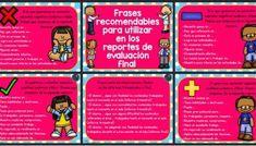Frases, comentarios, recomendaciones para reportes de evaluación FINAL