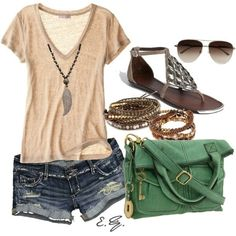 this outfit manages to be cute, casual, & stylish. My summer fashion inspiration (: Fashion Moda, Look Fashion, Fashion Outfits, Womens Fashion, Fashion Ideas, Teen Outfits, Teen Fashion, Fall Fashion, Latest Fashion