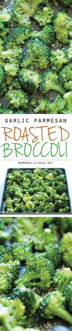 Garlic Parmesan Roasted Broccoli - This comes together so quickly with just 5 min prep. Plus, it's the perfect and easiest side dish to any meal!