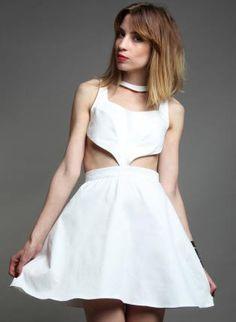 White Cut-Out Dress,  Dress, cut  white  party  dress  mini  chic, Chic