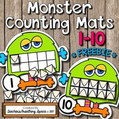These adorable Monster Teeth Counting Mats make a fantastic Math Center for October --- or for any time of year! Simply print, laminate and cut out and this great little Math Center will be ready to use! Students will be arranging the monsters in order from number 1 to 10, then counting out the appropriate number of teeth for each one.
