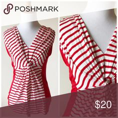 Anthropologie Pleione Red White Stripe Twist Tank Perfect for the 4th of July!! In excellent condition. The twist part really enhances your bust. No size tag but fits like a small ( my mannequin is a 2-4) The back is the same as the front, and the sides are a solid red Anthropologie Tops Tank Tops