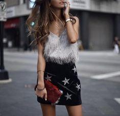 Pinterest: •Linell•  Grey fringed faux cami top and velvet star mini skirt.