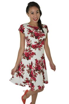 PSL Floral Fit and Flare in Rose Floral Fit And Flare, Cold Shoulder Dress, Rose, Floral, Fitness, Dresses, Fashion, Vestidos, Moda