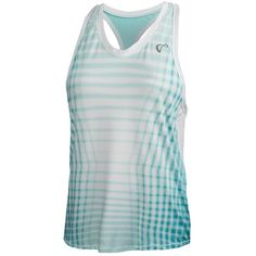 Send your little champ to her next workout in style with the Athletic DNA Girls' Racquet Racerback Tennis Tank in Aruba and White! The geometric print across the front adds a high-fashion touch to this ultra slim racerback, athletic tank. Mesh underarm panels provide breathability and comfort so she's cool in all weather conditions.