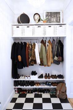Home Decoration;Built In Wardrobe; Open Wardrobe, Wardrobe Closet, Shoe Closet, Wardrobe Organisation, Home Organization, Diy Built In Wardrobes, Diy Coat Rack, Coat Racks, Hallway Inspiration