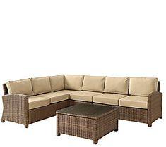 Crosley Bradenton 5-Pc Wicker Set w/ Chair Table & Cushions