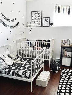 Aki & Archer's room - Whistle & Flute Clothing - I just don't like the black and white. A little harsh for a kids' room. Plus, white? How long will that stay white?