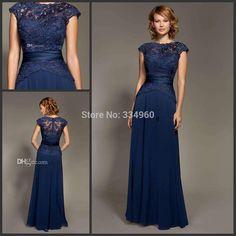 Aliexpress.com: Compre Lindo 2015 laço azul escuro mãe da noiva vestidos tampadas retrato A linha Corved botão voltar até o chão vestido de noite de confiança padrões de vestido de baile vestidos fornecedores em online bridal