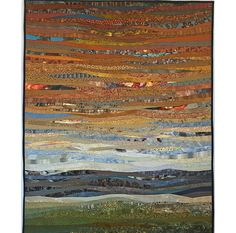 Quilted landscape art. Desert scene. Abstract textile by AnnBrauer