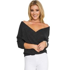 Gamiss Fashion Fall V-neck Strapless Long Sleeve Women Pullovers Bust Cross Knitted Women Top Sweater ONE SIZE(FIT SIZE XS TO M)