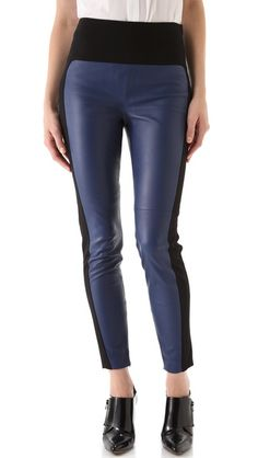 Jersey panels and hidden ankle zips make leather pants a wearable statement piece. A hidden zip fastens the side, and welt pockets sit at the back. Soft lining extends to the mid-thigh.    Fabric: Leather with jersey trim.  Leather: 100% lambskin.  Trim: 69% viscose/27% nylon/4% spandex.  Lining: 100% polyester.  Dry clean.  Imported.    MEASUREMENTS  Rise: 10.5in / 27cm  Inseam: 28.5in / 73cm  Leg opening: 10in / 25cm