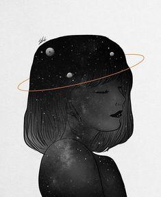 Digital designer and illustrator Muhammed Salah. Muhammed Salah is a 27 years old artist, illustrator, art director, digital designer and graphic designer. Moon Art, Girly Art, Galaxy Artwork, Illustration Art, Art, Art Wallpaper, Space Art, Cartoon Art, Aesthetic Art