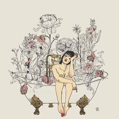 """Take some time to reflect on how much you've grown over the last few months in any way—whether you started going to therapy, got a new… Photography Illustration, Illustration Art, Illustrations, Bath Pictures, Where Is My Mind, Ashley Wood, Girl Sketch, Sketch Ink, Bath Girls"