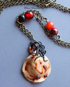 Fimo polymer clay doll sweet dessert necklace cernit hand Made