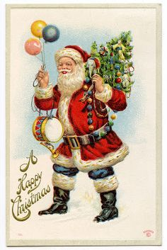 Vintage Graphic - Classic Santa with Balloons - The Graphics Fairy