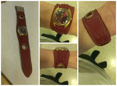 DIY sewed and braided leather for an old mens watch