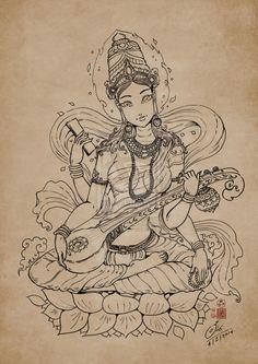 Saraswati line art by In-Sine.deviantart.com on @deviantART