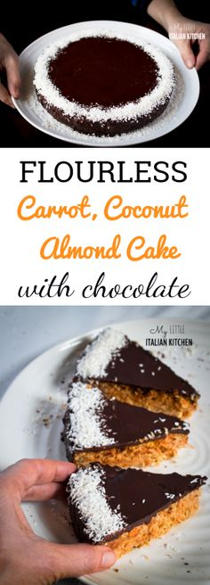 Flourless carrot, coconut, almond cake with chocolate - Gluten Free