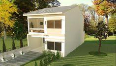 Plano de casa de 2 pisos y 106 m2