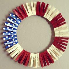 iM SO DOING THIS FOR NEXT YR...Clothespin Flag Wreath - Click image to find more DIY & Crafts Pinterest pins