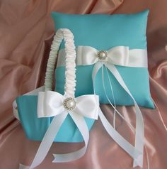 Tiffany Blue Wedding Flower Girl Basket and Ring by All4Brides, $70.00