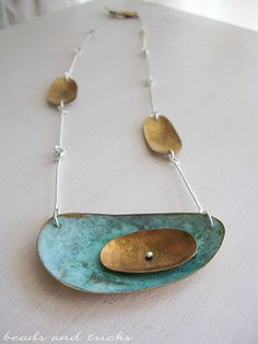 Alessia Chisone Nu-gold brass, green patina, sterling silver necklace | Handmade by Beads and Tricks