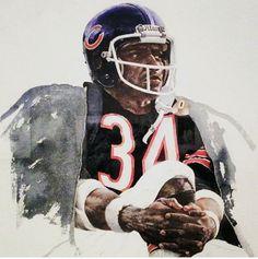 Chicago Bears Runningback Walter Payton by Merv Corning. Pro Football Journal Presents: NFL Art: Merv Corning
