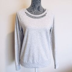 Jeweled Sweatshirt NWOT Grey Sweatshirt. Never Worn. Old Navy Sweaters Crew & Scoop Necks