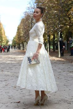 Pretty white midi on Ulyana Sergeenko