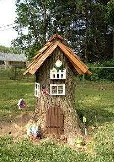 Tree stump gnome house! I have the perfect stump for this