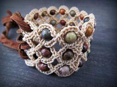Gypsy Corset Cuff Bracelet with Earthy Jasper Beads by GlowCreek