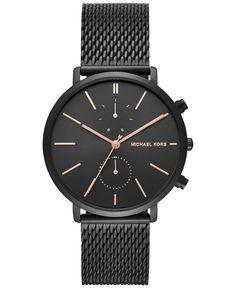 Michael Kors Men's Chronograph Jaryn Black Ion-Plated Stainless Steel Mesh Bracelet Watch 42mm MK8504 #men's_watch #watch_for_men #watch_lover