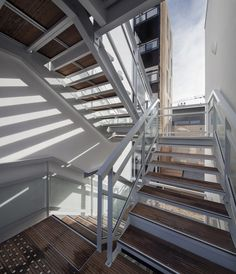 Image 11 of 19 from gallery of 16 Social Housing Units / Atelier Gemaile Rechak. Photograph by Milene Servelle Wooden Facade, Metal Stairs, 2016 Pictures, Social Housing, Interior Stairs, Staircase Design, Construction, The Unit, Gallery