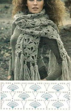 Xxl chunky crochet scarf with long fringes and fan stitch. Free crochet scarf pattern More Patterns Like This! Crochet Scarf Tutorial, Chunky Crochet Scarf, Crochet Scarves, Crochet Clothes, Crocheted Scarf, Crochet Winter, Love Crochet, Knit Crochet, Crochet World