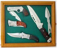 knife shadow box display case | Knife Display Case shadow box, with glass door, wall mountable, Oak ...