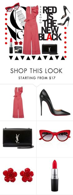 """""""red black"""" by e-memagic ❤ liked on Polyvore featuring MSGM, Christian Louboutin, Yves Saint Laurent, Dolce&Gabbana, Chanel, MAC Cosmetics and Christian Dior"""