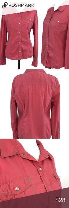 """Athleta Button Front Red Top Size Large Athleta Snap Button Front Top Size LARGE Light Red Adjustable Long Sleeve Casual  Item is in good pre-owned condition with no rips, tears or stains. Logo is a bit faded.   Flat Measurements Approximate:  Across Chest: 21.5"""" Waist: 19.5"""" Length: 24.5"""" Sleeves: 25.5""""  Thank you!  C260E Athleta Tops Button Down Shirts"""
