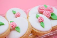 dainty rose cookies ♥ might paint a gold rim around edge!