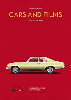 15 Minimalist Illustrations of Iconic Cars in Film- Pulp Fiction