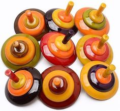 Assorted 50 pcs Handmade Painted Wooden Spinning Tops Toys Vintage Indian Craft
