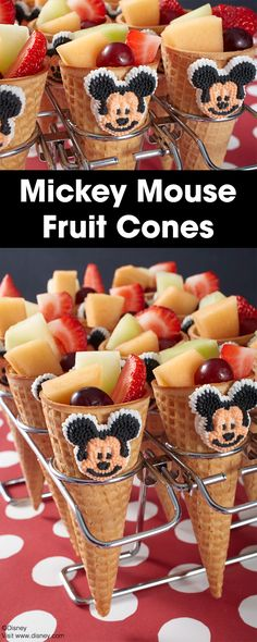 Provide a nutritious snack for your Disney-themed party with these Disney Mickey Mouse Fruit Cones. Great for kids and adults of all ages, these tasty snacks are a fun way to serve something healthy at your next birthday celebration.
